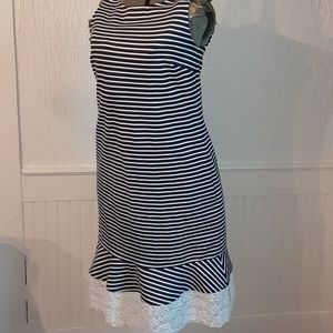 Lands End Navy and white striped with lace hem
